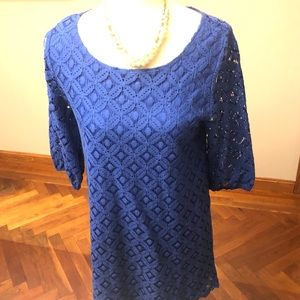 Love notes blue perforated pattern shift dress M